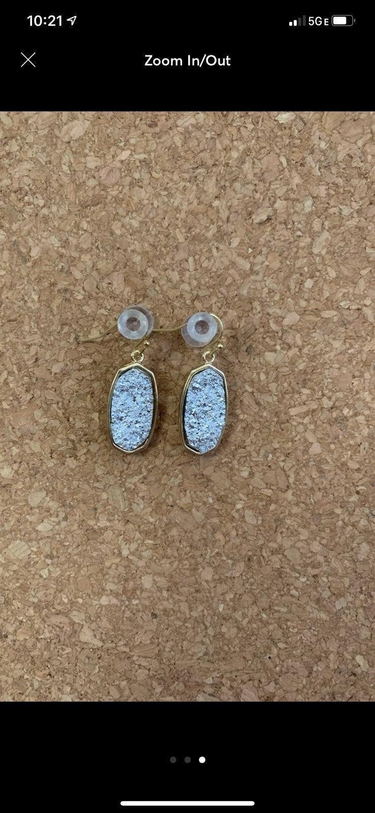 NEW silver druzy stone earrings
