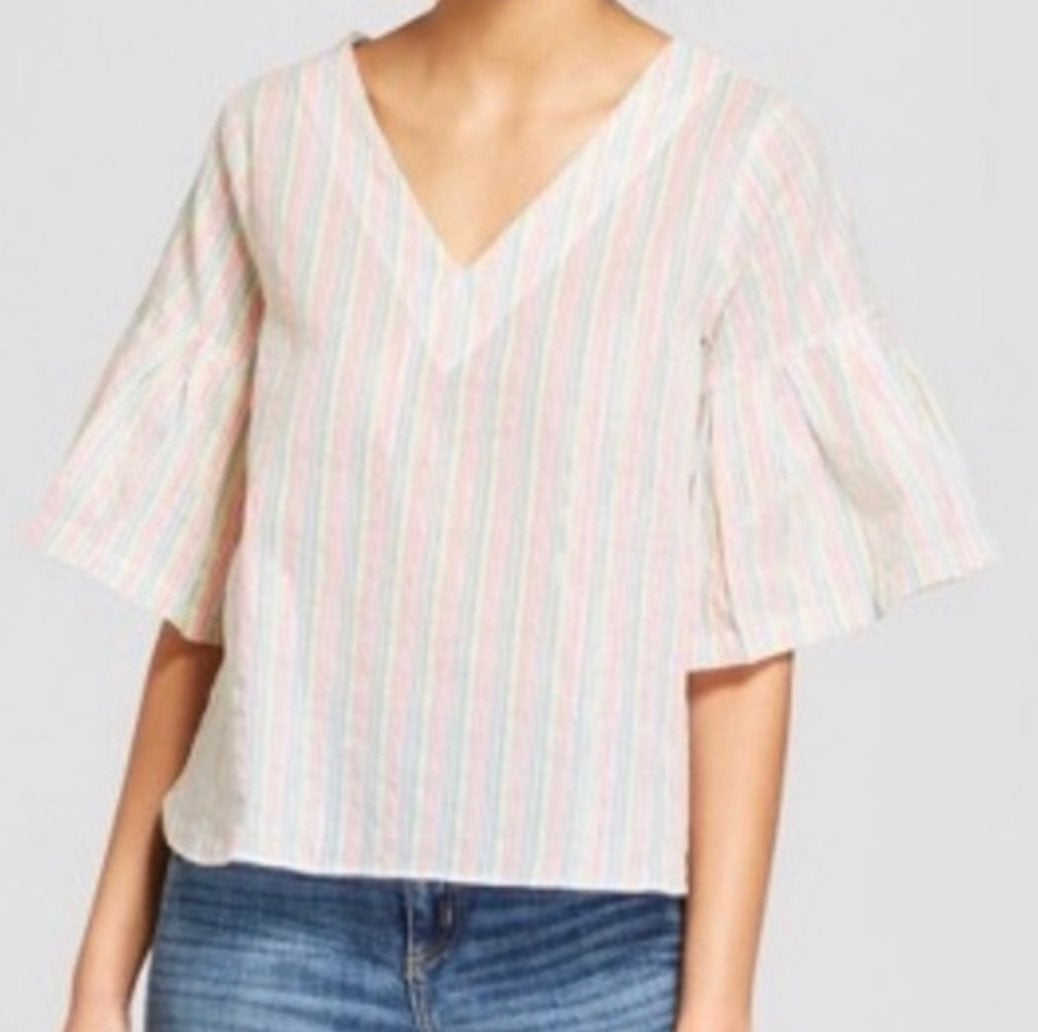 A New Day Striped Boho Bell Sleeve Tunic