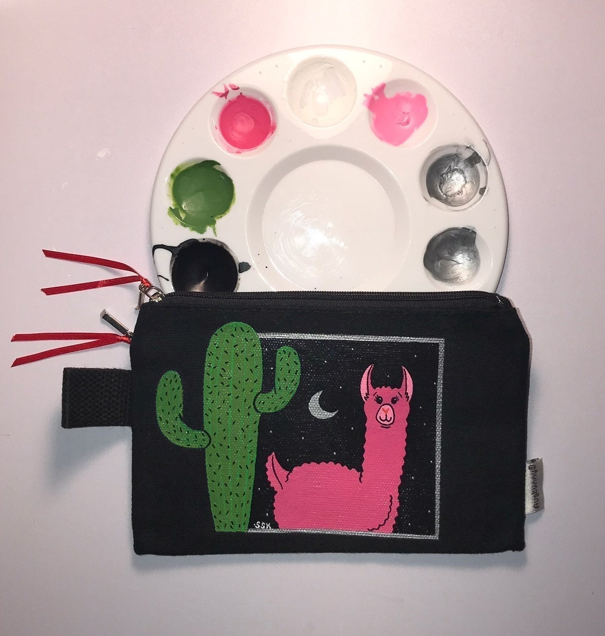 Hand Painted Llama Pouch