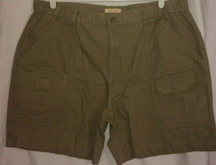 New Savane Cargo Shorts Sz 40 Khaki Beige Mens