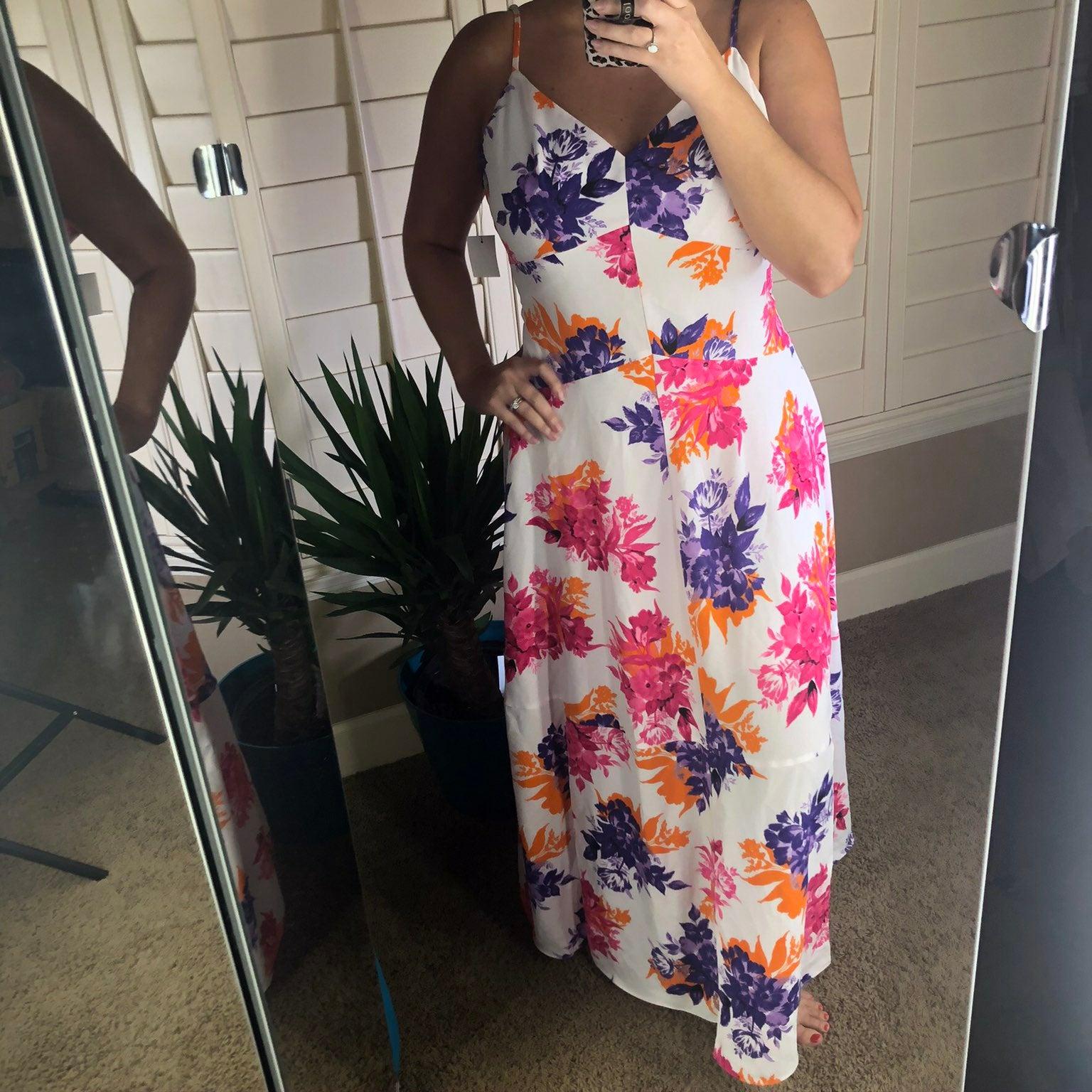 Bar III Tropical Garden Maxi Dress 2 NEW