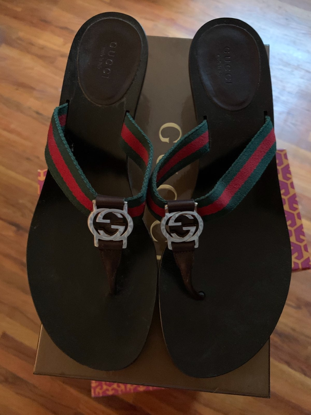 Gucci Brown Red Green Thong Sandal 9