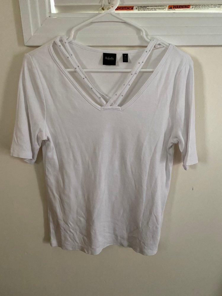 Rafaella white knit top w/ studds SZ M