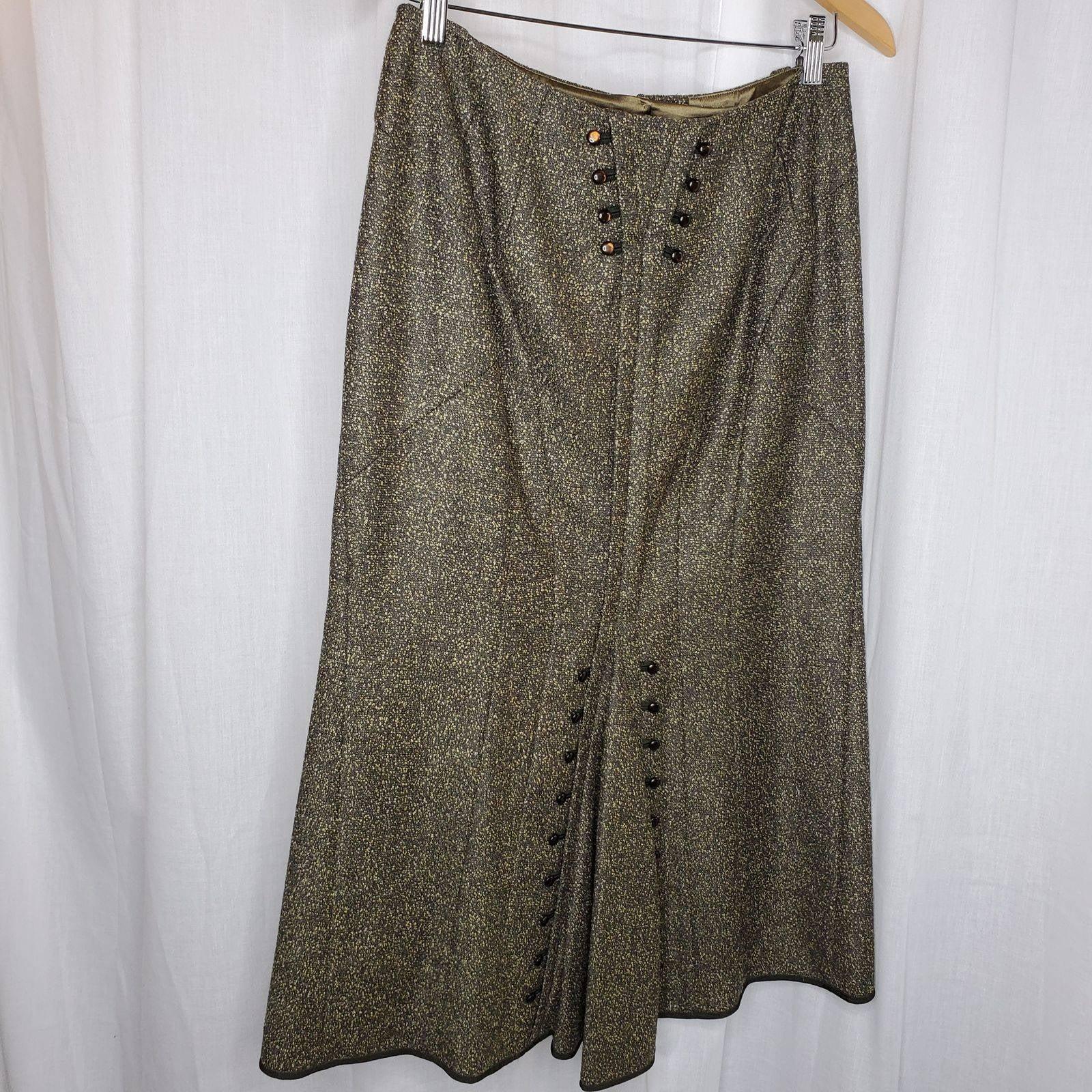 Per Se Olive Tweed Vintage Look Skirt, 6