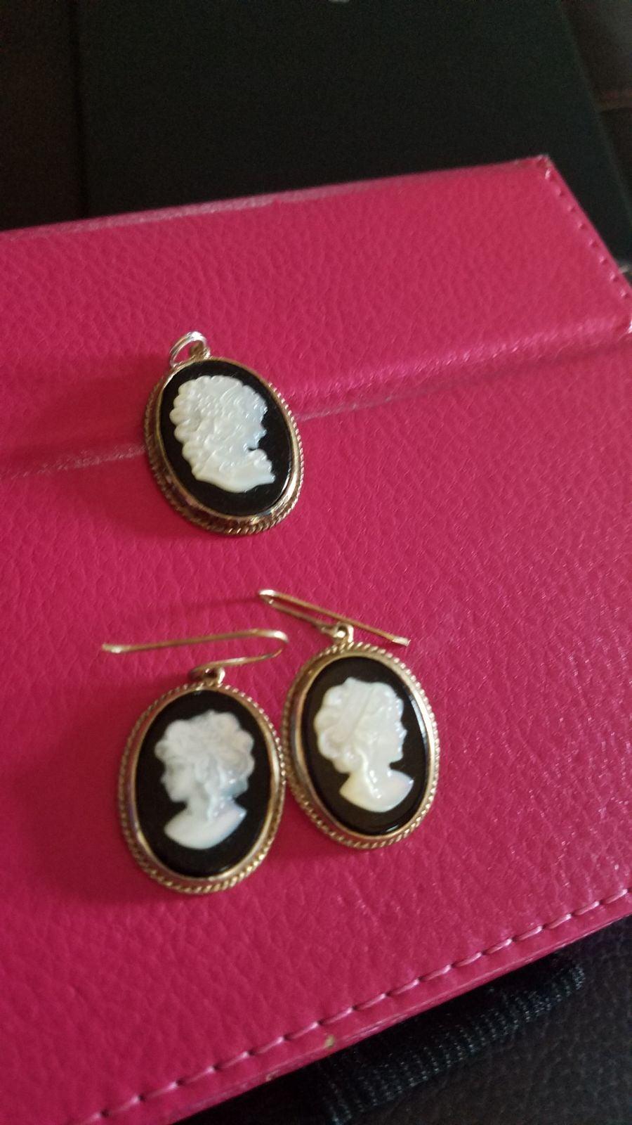 Avon cameo pierced earrings and pendant