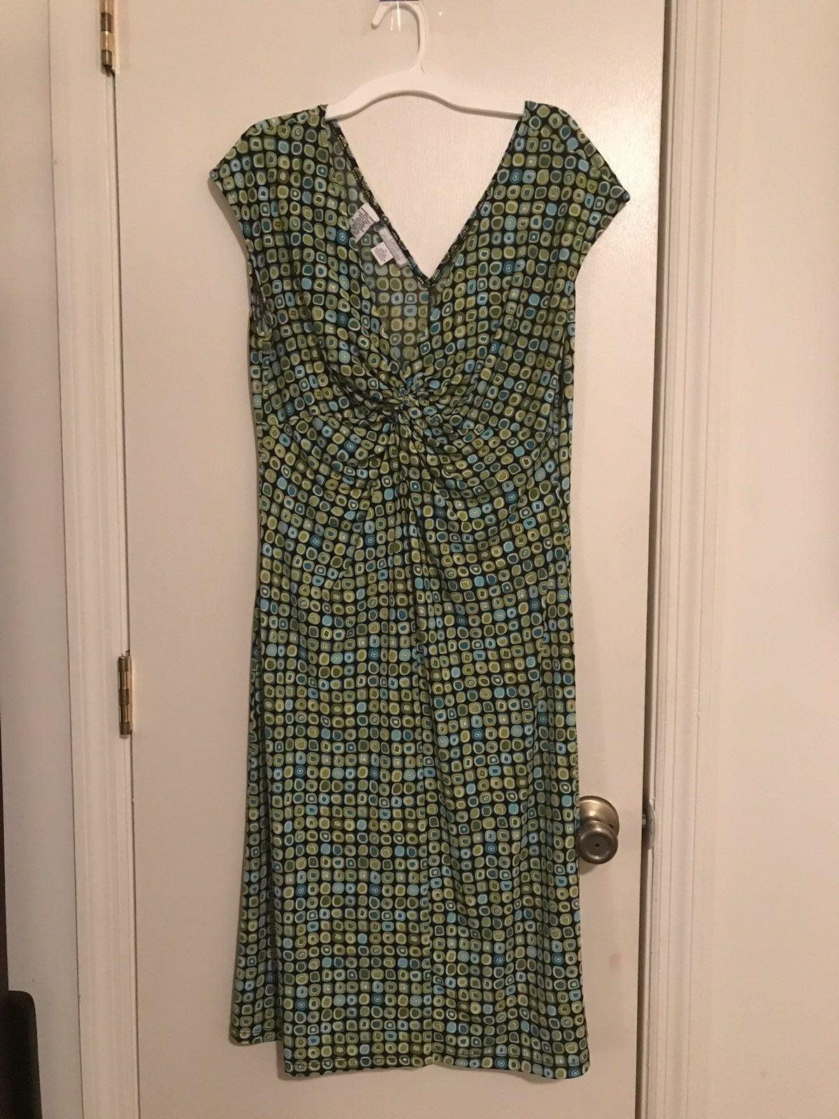 EUC Green/Blue Geometric print dress