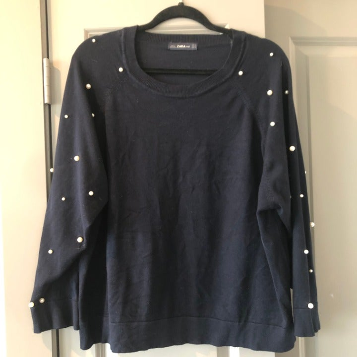 ZARA Navy Blue with pearl sleeve sweater