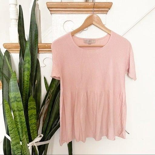 LOFT blush pink ribbed short sleeves knit blouse