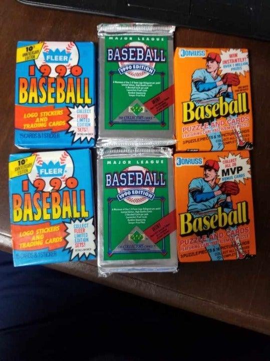 1990 vintage baseball wax packs