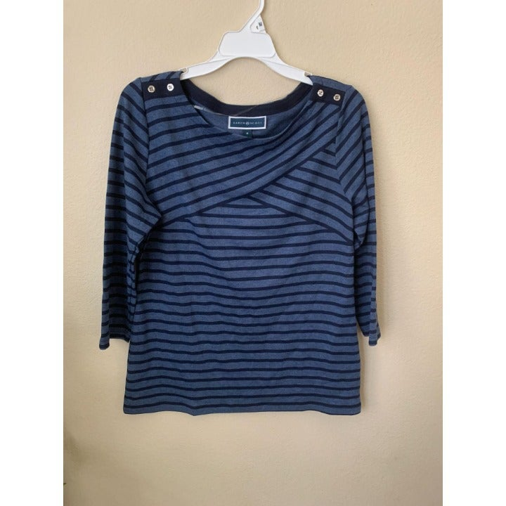 Karen Scott M T-shirt top Blue Striped