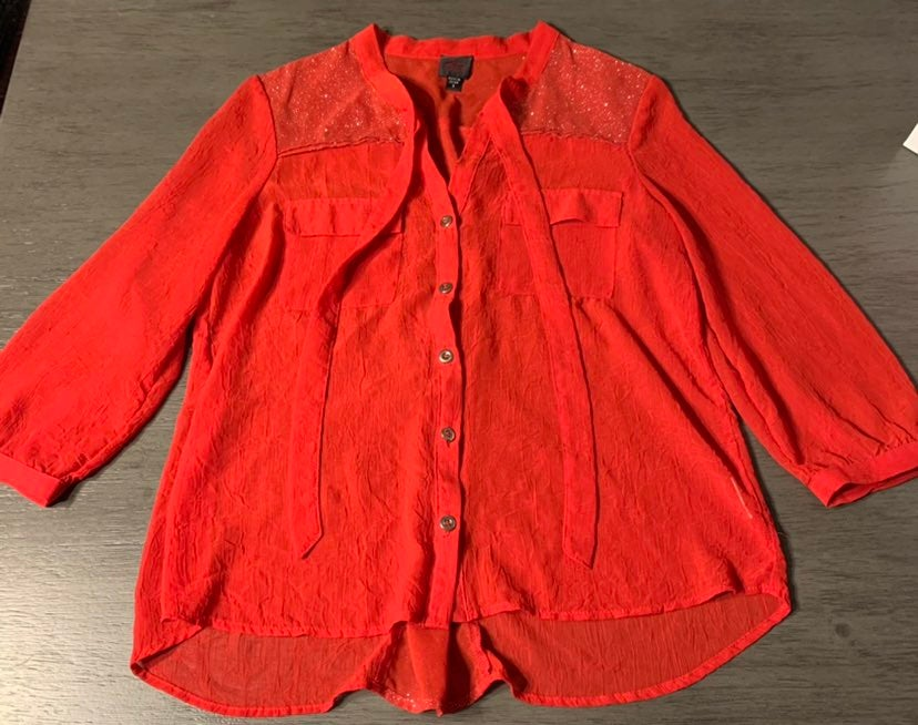 2B Bebe Red Button Up Blouse