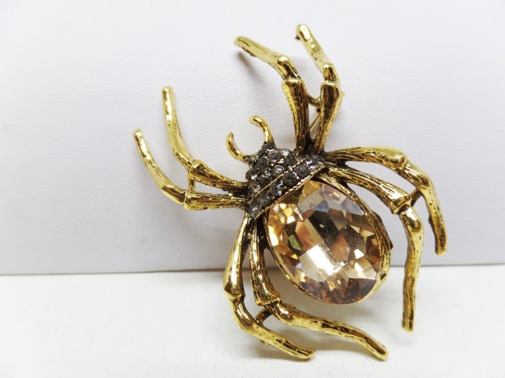Champagne Crystal Spider Brooch Pendant