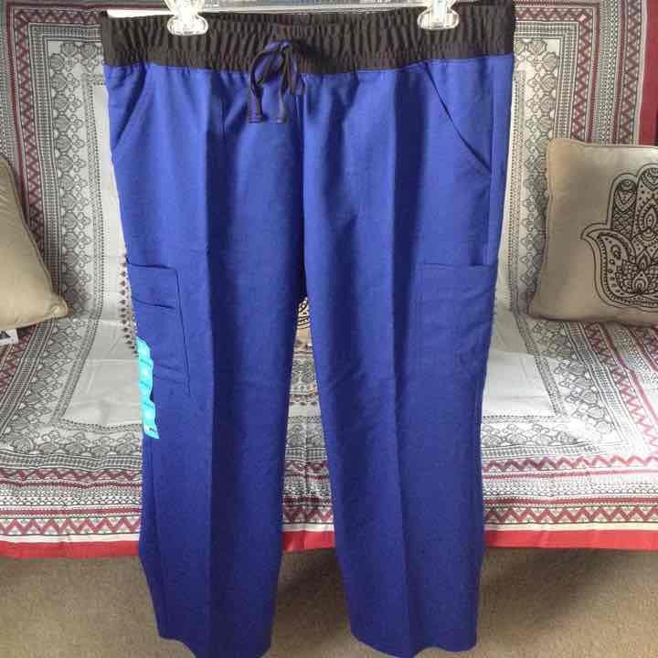 Blue cargo scrub pants