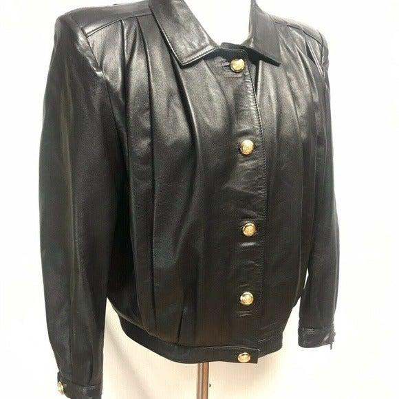 Vera Pelle black leather vintage jacket