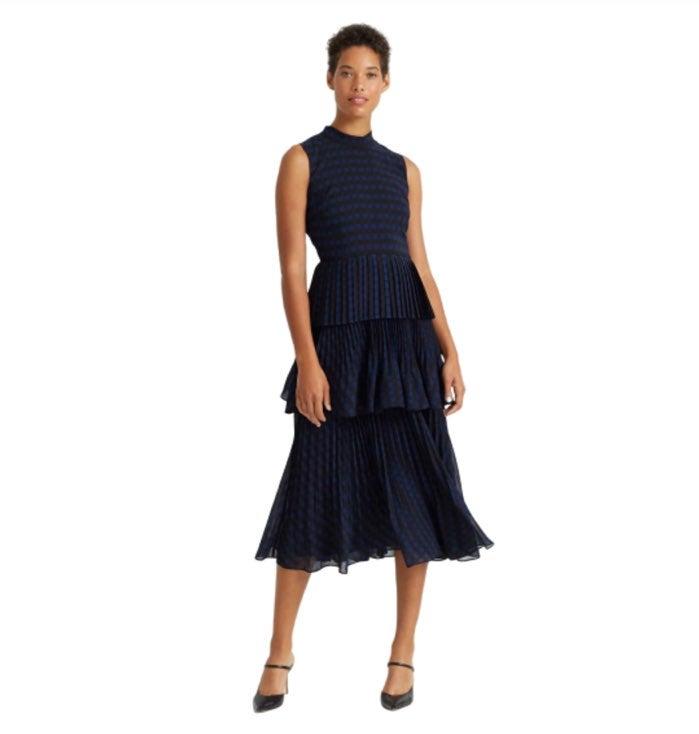 Club Monaco black blue pleated gown
