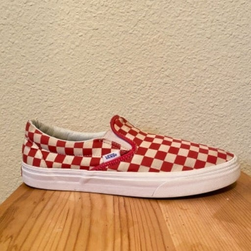 Vans Checkered Red Slip-ons
