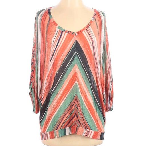 Ella Moss Orange Striped V Neck Top S
