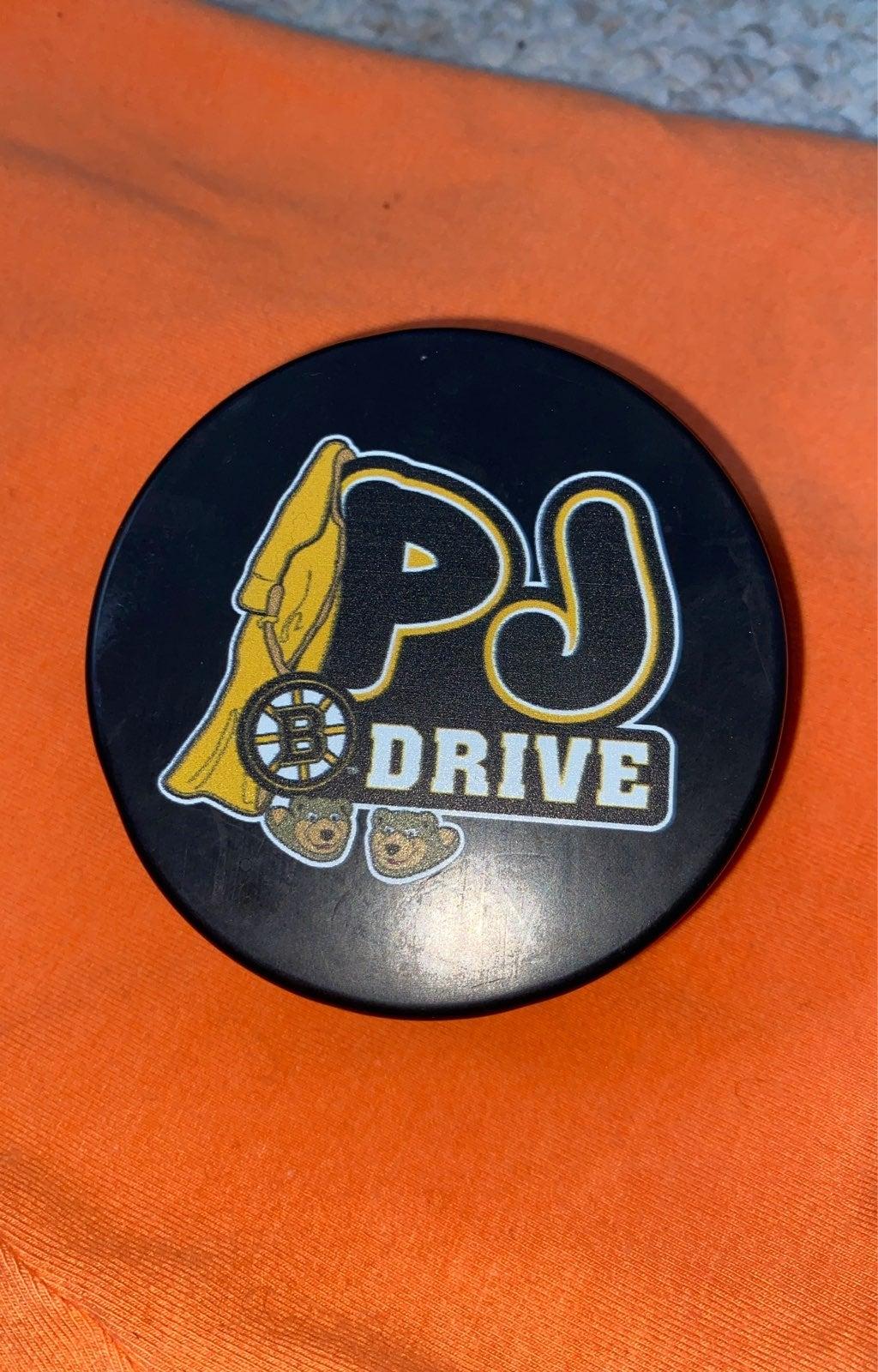 PJ drive Bruins Hockey puck