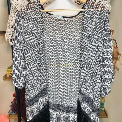 Boho Hippie Fringe Black & White Kimono