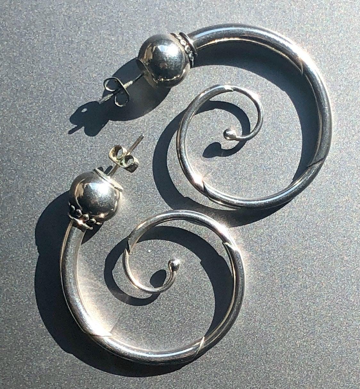 Spiral Sterling Silver Hoop Earrings