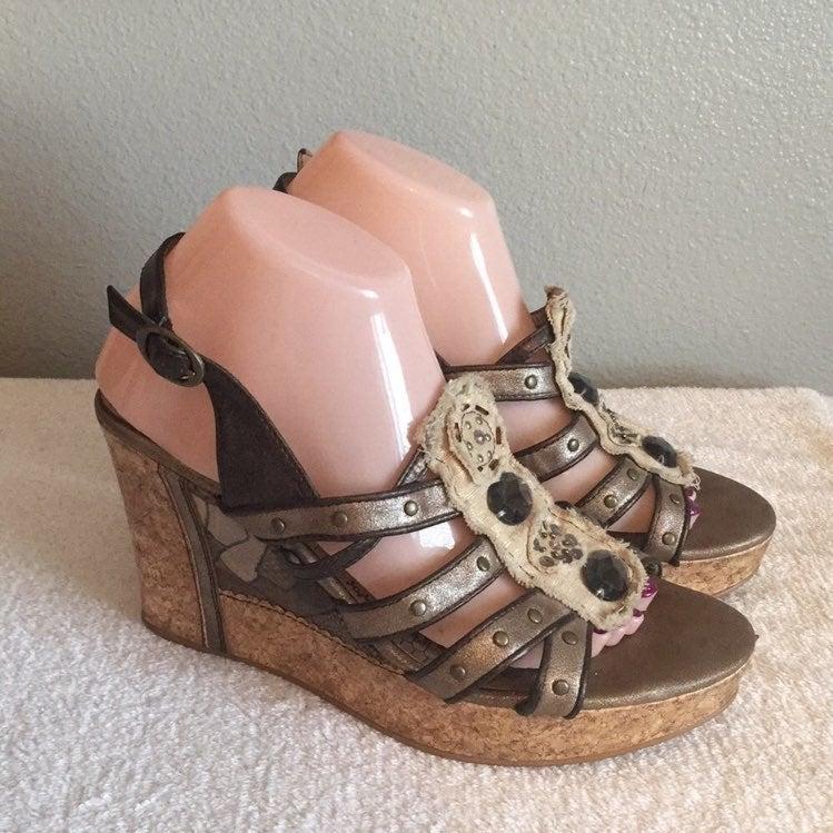 BKE Brown Rhinestone Wedge Sandals Heels