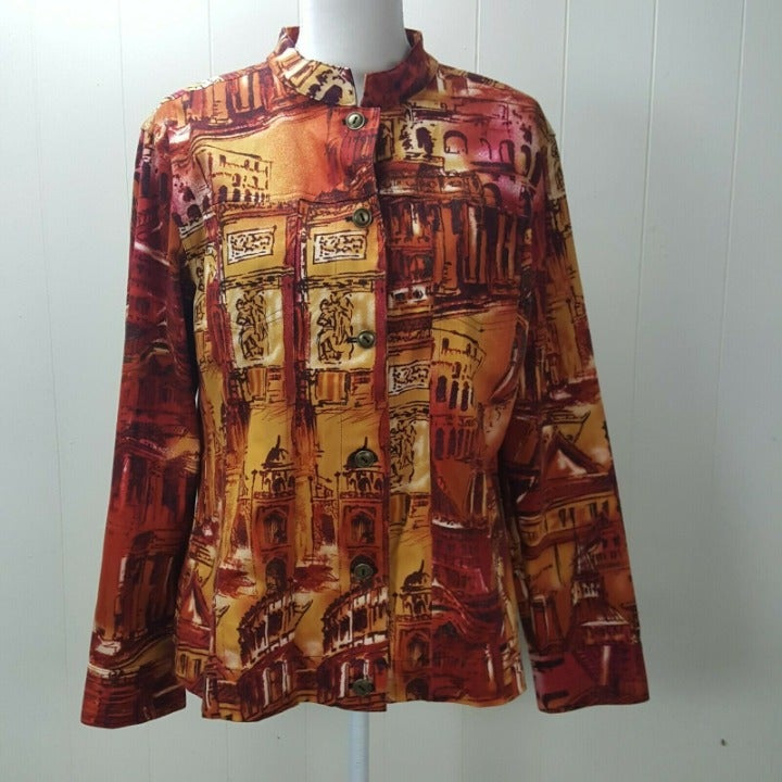 Additions Chicos Jacket Blazer Womens XL Orange Button Mandarin Collar City
