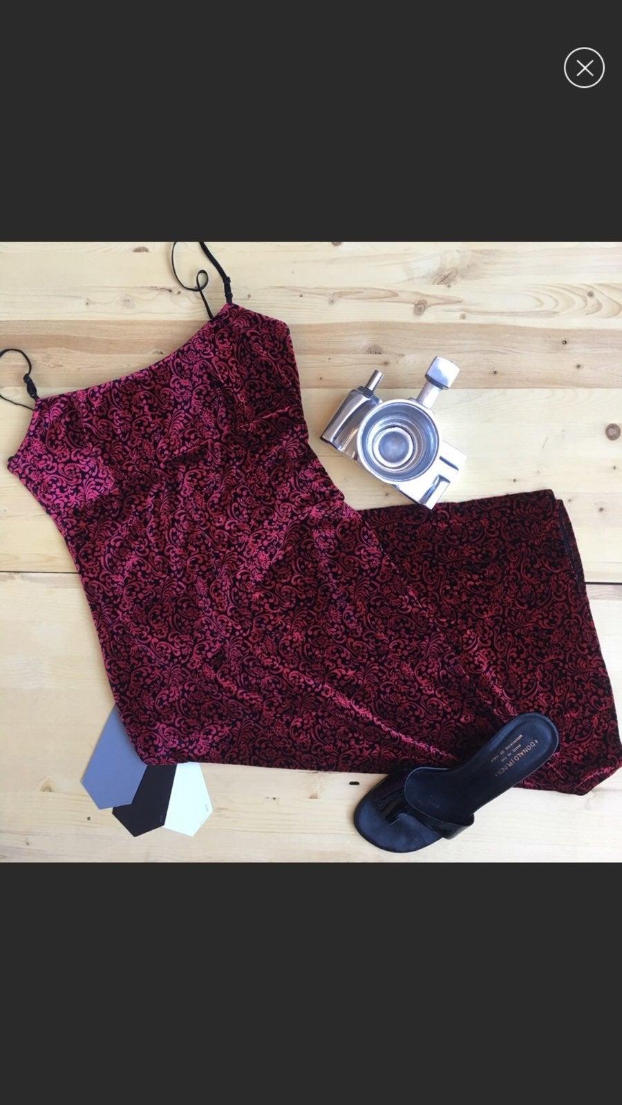 Vintage Velvet Printed Dress