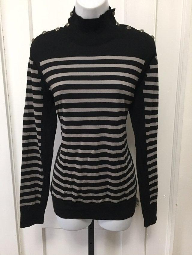 Per Se Black & Silver Stripe Wool Top