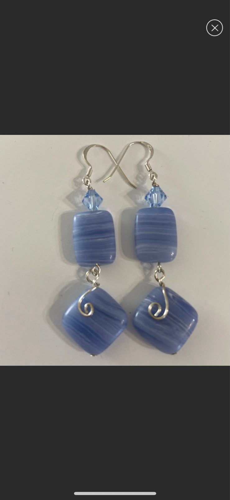 Blue lace agate earrings with swarovski