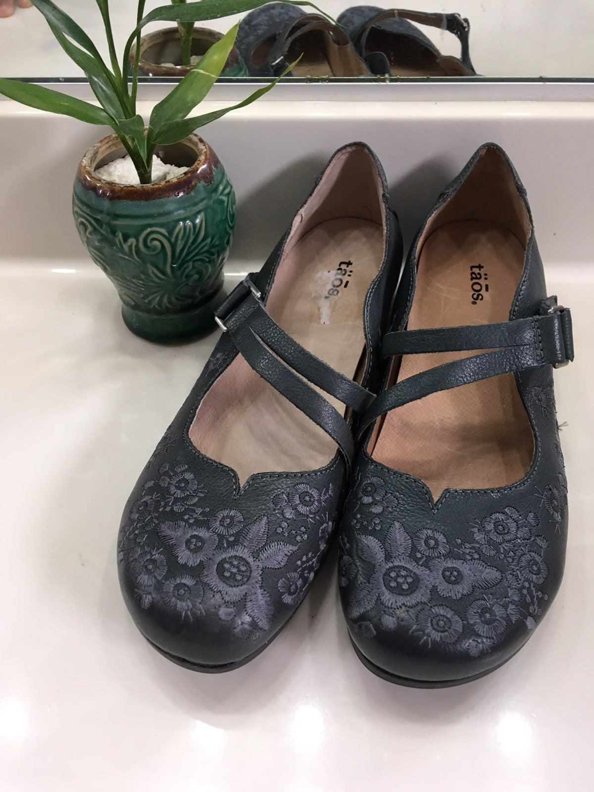 Embroidered Gray Leather MaryJane Flats
