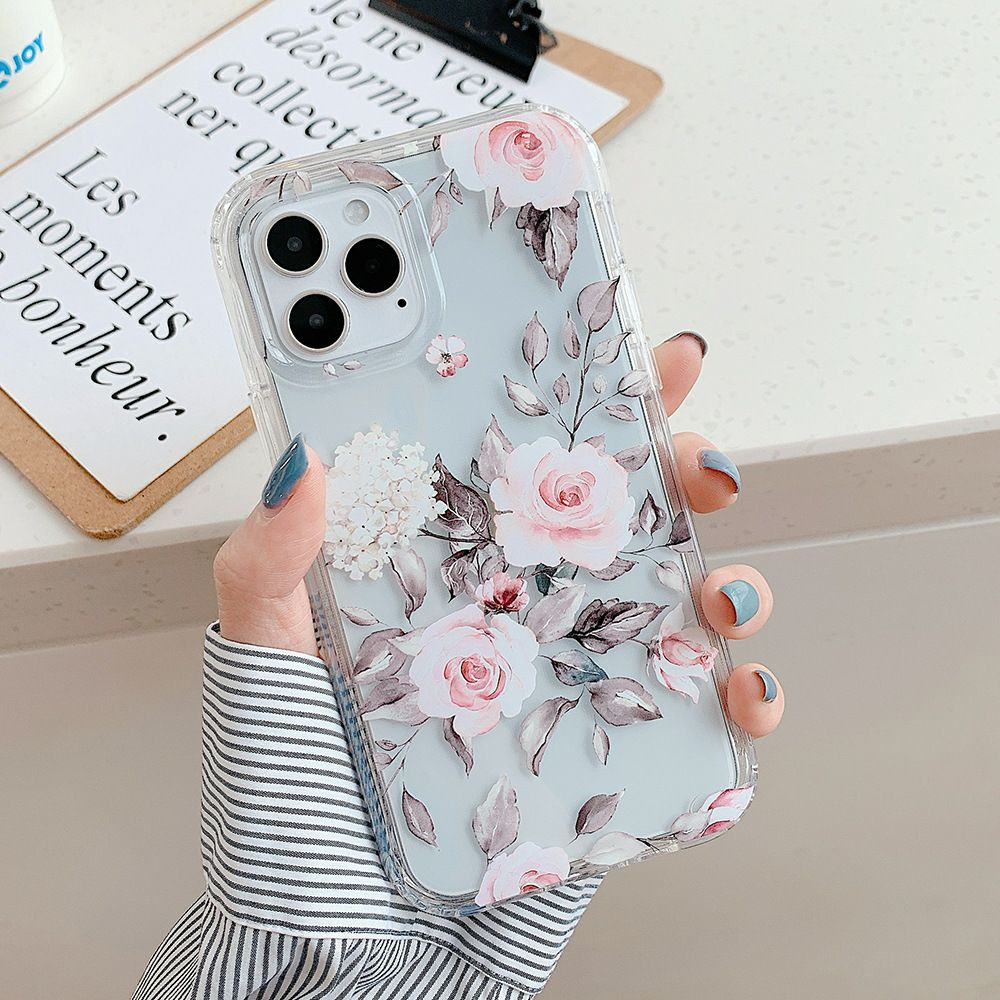 Iphone 12 Pro, 12 case Floral Heavyduty