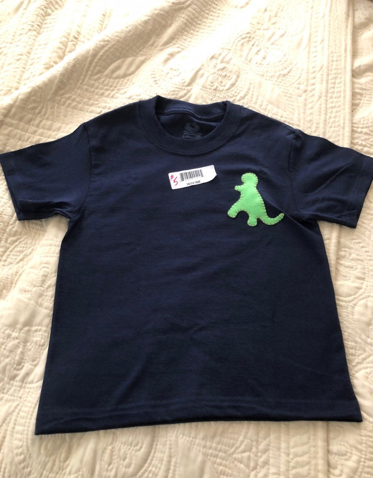 Youth t shirt navy blue dinosaur xs