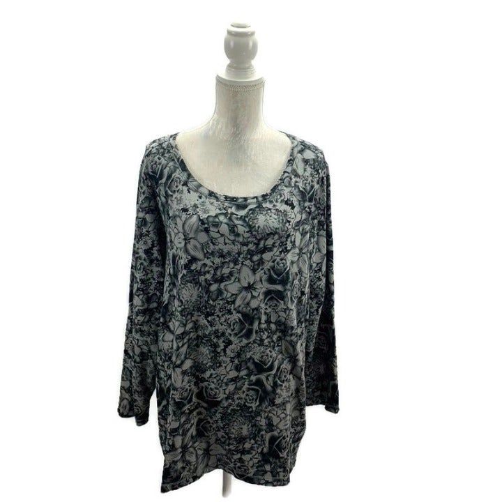 Grey & Black Floral D&Co Long Sleeve Top