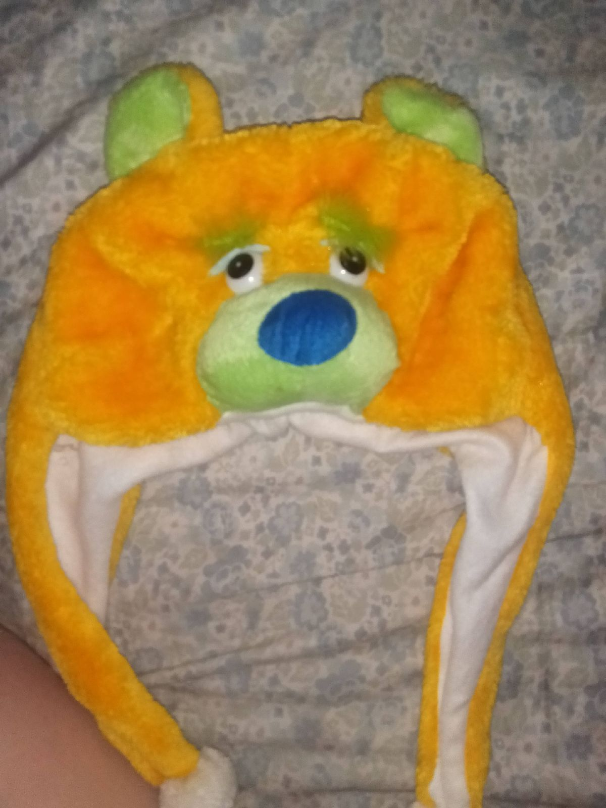 Cute yellow and green bear hat