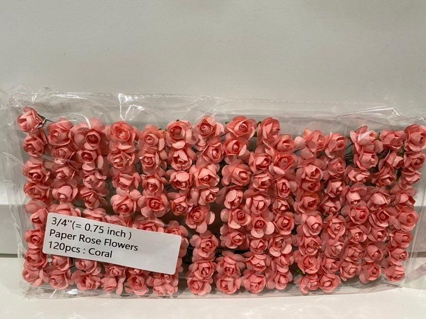 "3/4"" Paper Rose Flower 120pcs : Coral"