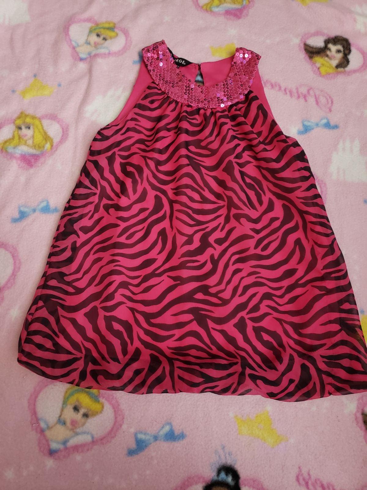 XS pink zebra print long dress top
