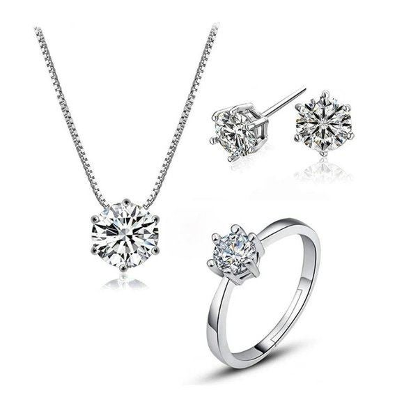 [Set of 3] 925 Silver Solitaire Diamond