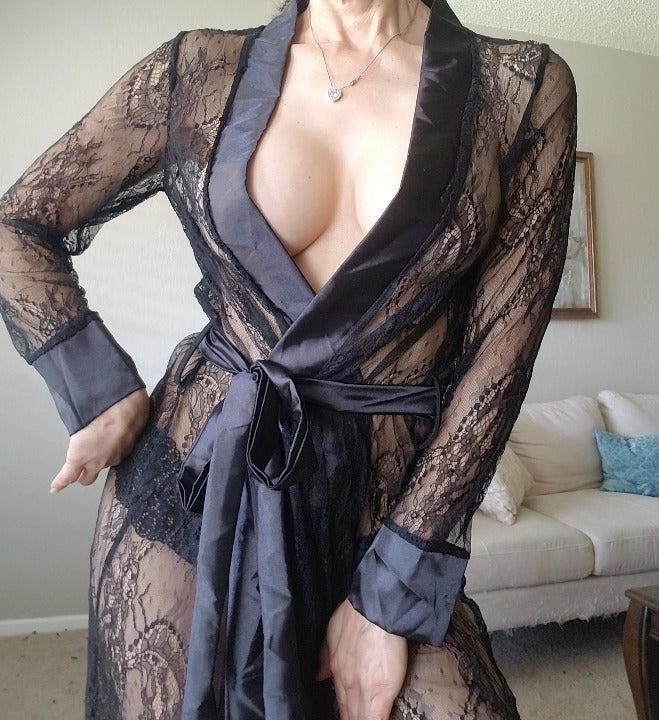 Black Lace Long Elegant Nightgown L