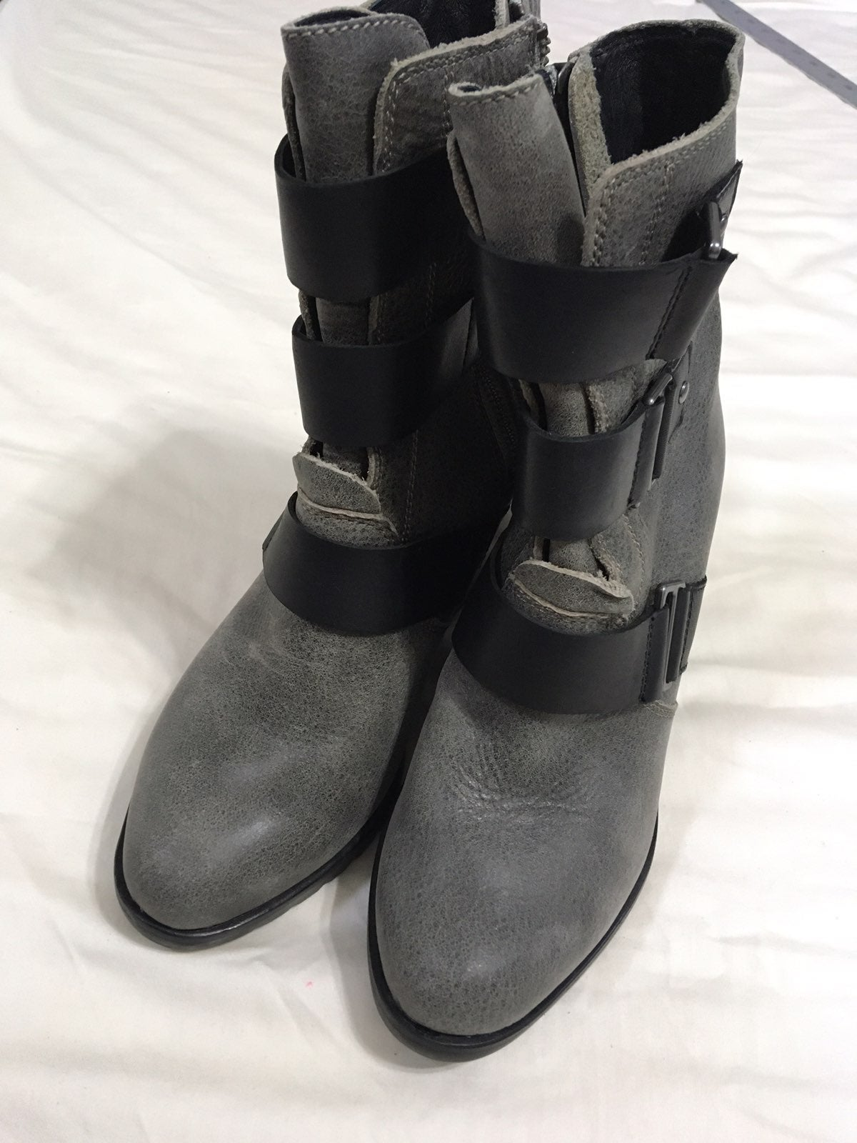 3-Strap Gray Leather Wedge Boots
