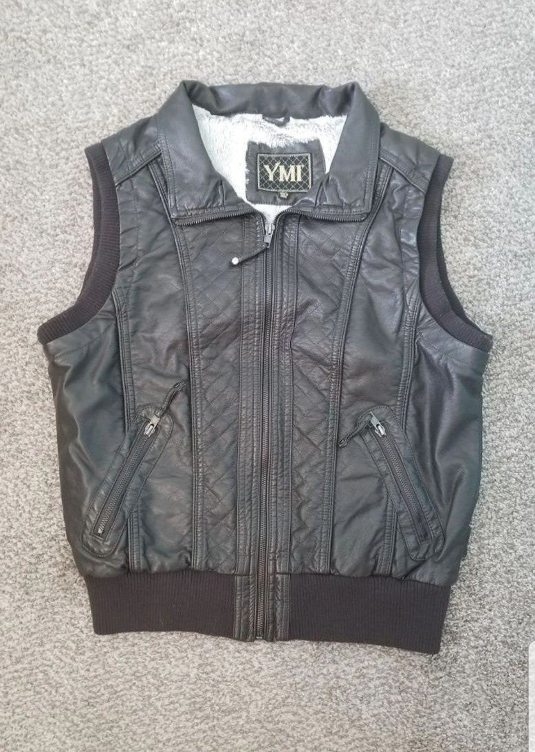 YMI Womens Leather Vest with Lining