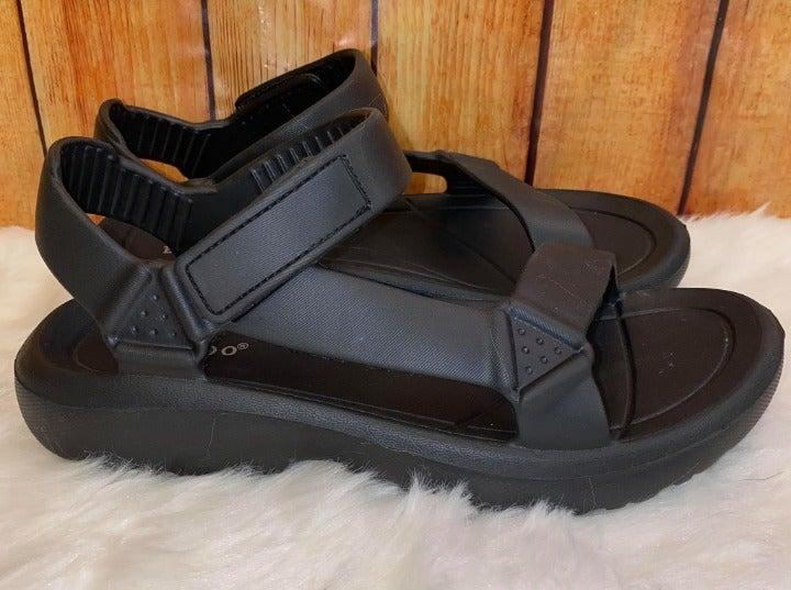 Black Rubber Womens Sandals NIB Size 7