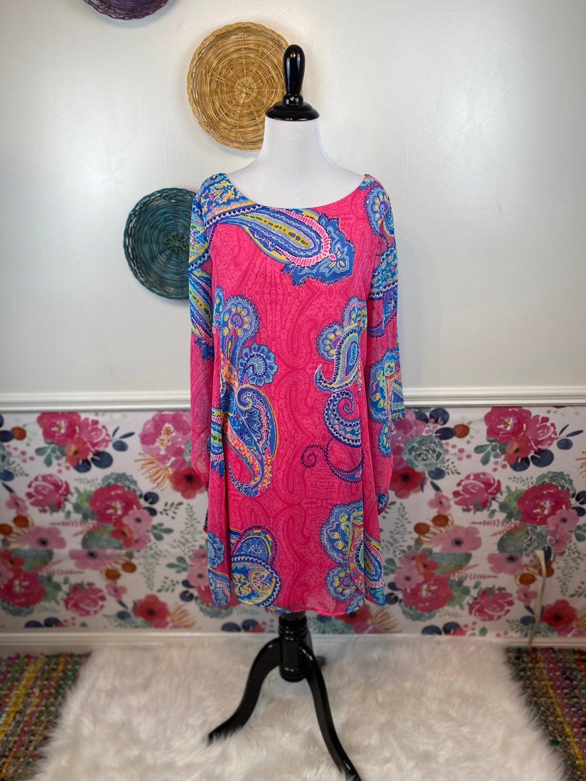 Pink Owl Fairy Sleeve Chiffon Dress L