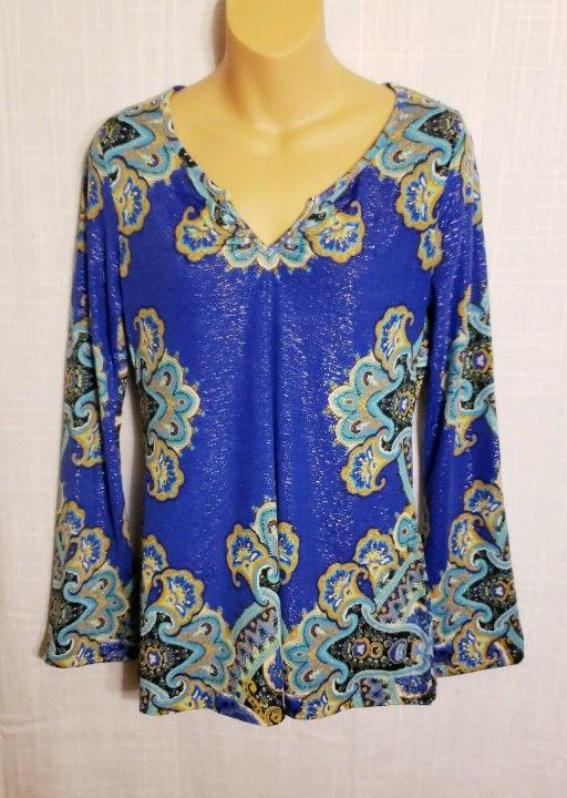 Long Sleeve Embellished Cobalt Top