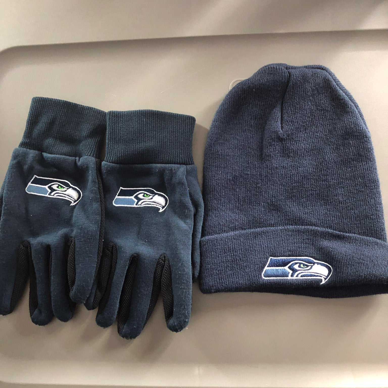 Seahawks beanie and gloves