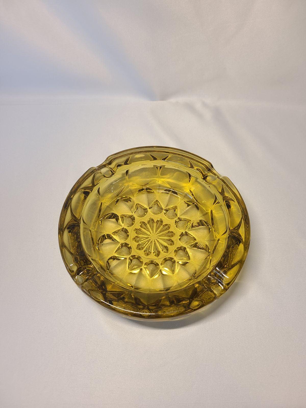 Vintage Yellow Amber Glass Ashtray