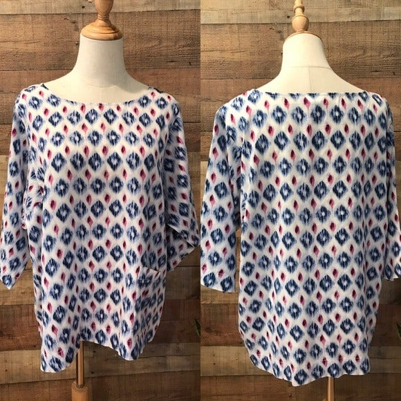 Pure Jill Blue White Popover Tunic Top Pockets Ikat Medium