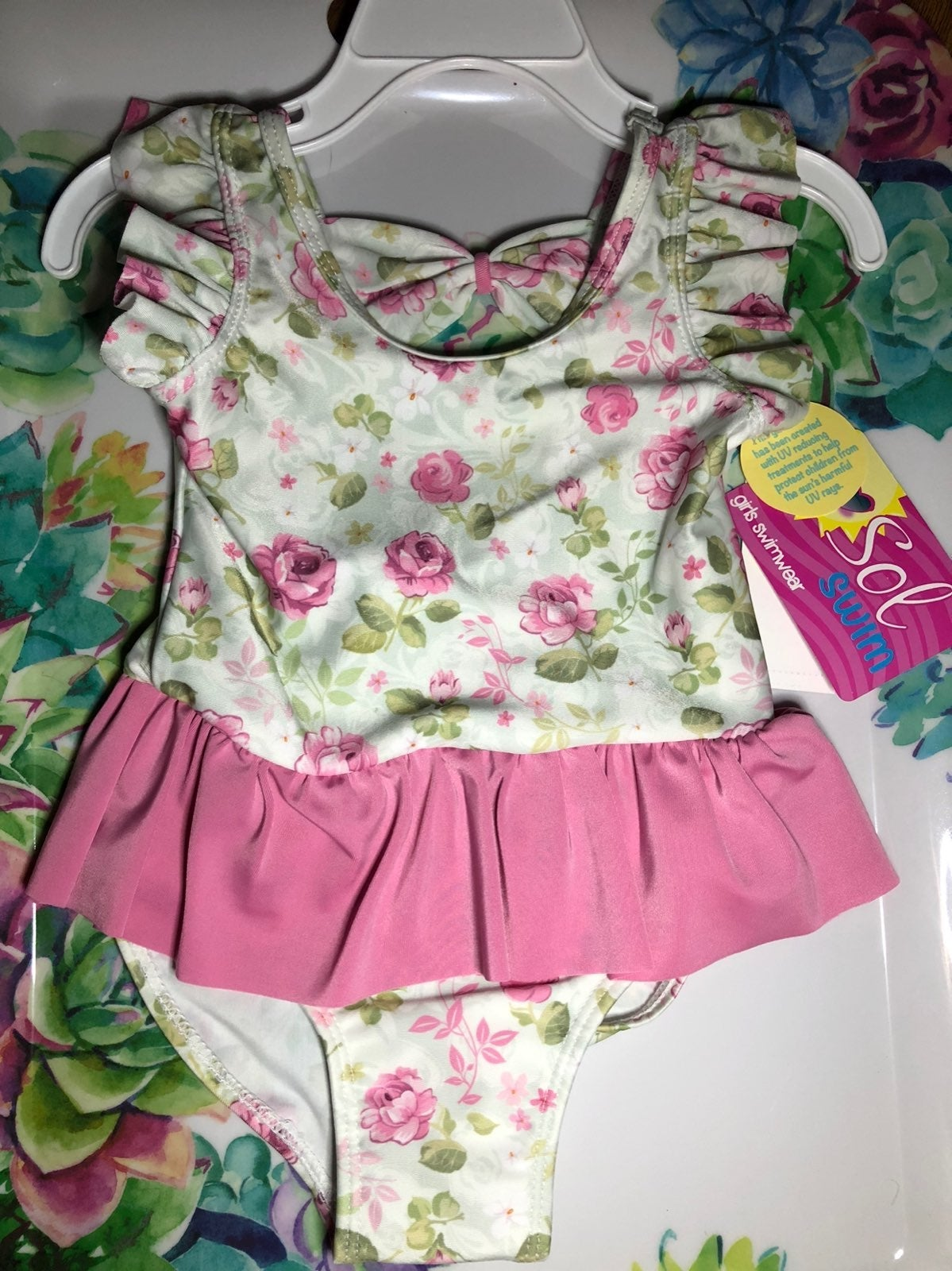 Sol Swim Girls Pink Floral NWT2t