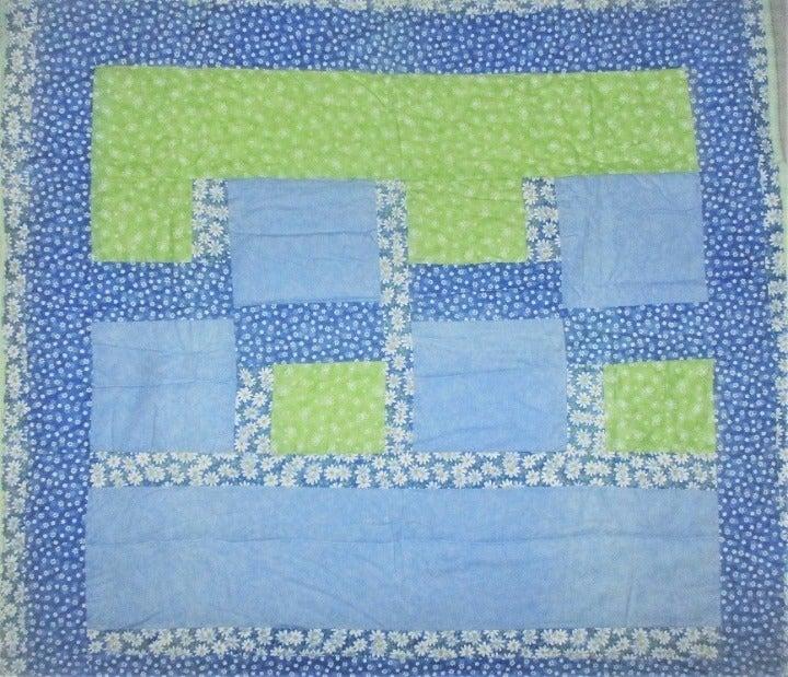 "Daisy lap quilt 40"" sq blue yel handmade"