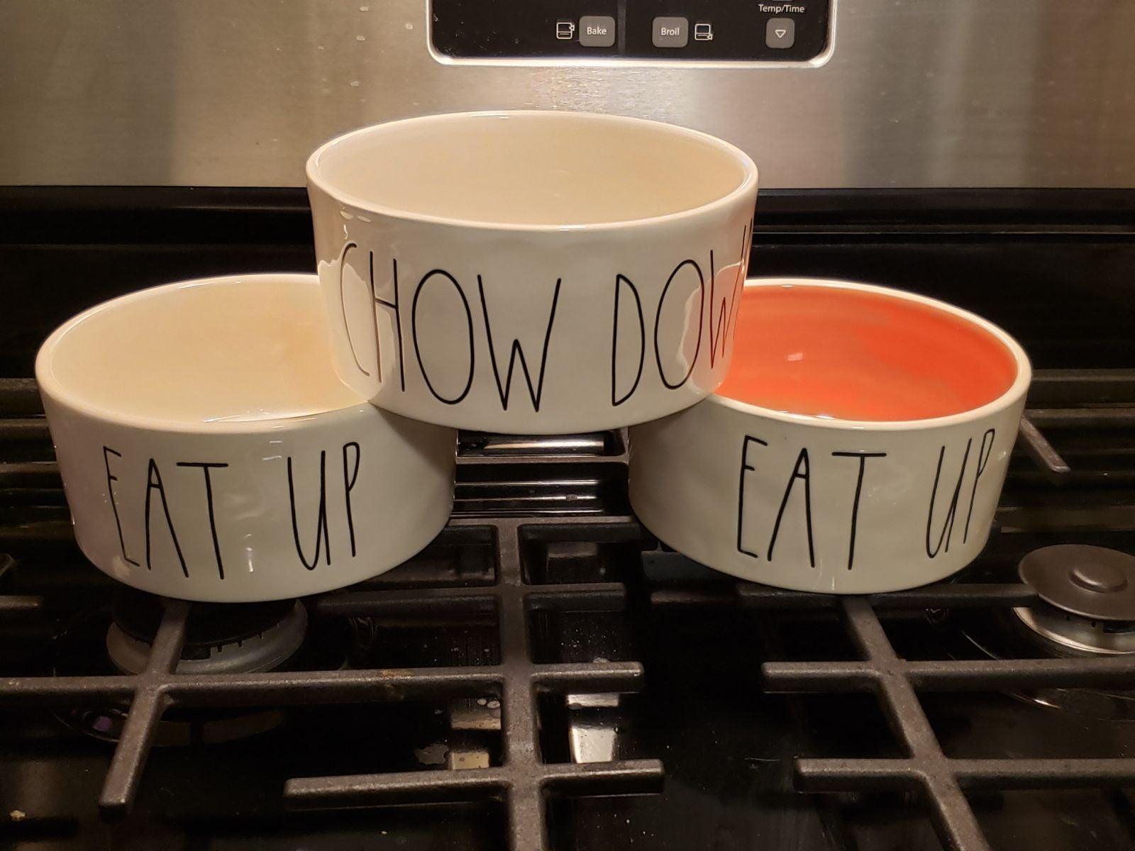 Rae Dunn dog bowl set of 3 bowls