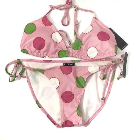 Ingear Pink Green Polka Dot Swimsuit LRG